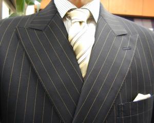 秋の洋服まつり4日目・濃紺ストライプ・ダブル