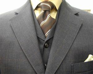 ブリティッシュ・3ピース・ウィンドウペン(windowpane) 職人一人縫い 2011.S/S・「春の感触」