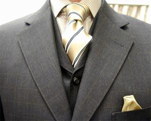 ブリティッシュ・3ピース・ウィンドウペン(windowpane) 職人一人縫い