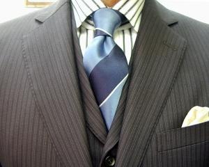 濃紺ウーステッド・3ピース/クラシコ