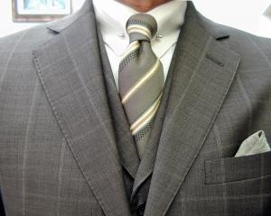 クラシコ・3ピース・ウィンドウペン(windowpane) ピンホールのシャツ