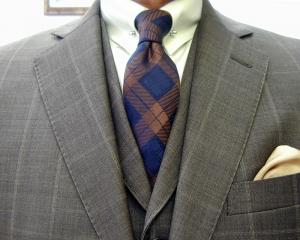 クラシコ・3ピース・ウィンドウペン(windowpane) ピンホール(Shirt-pin)