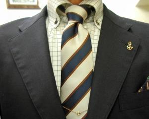 撥水・濃紺ブレザー&グレイ・パンツ